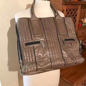 Cynthia Rowley Adjustable Sides Leather Work Tote